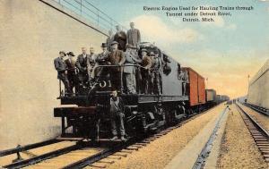 Detroit MI~Men on Electric Engine~Train Engineers~Porters~Brakemen 1912
