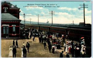 MICHIGAN CITY, IN    MICHIGAN CENTRAL Railroad Depot  Crowd  1910s  Postcard
