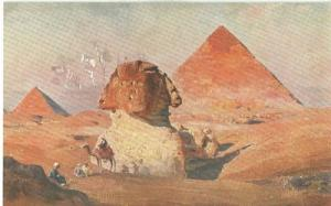 Egypt, Sphinx et les Pyramides, Sphinx and Pyramids, earl...