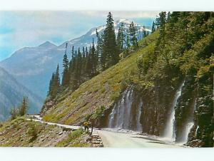 Weeping Wall Springs Flowing From Mountainside Glacier Nat Park  Postcard # 7128