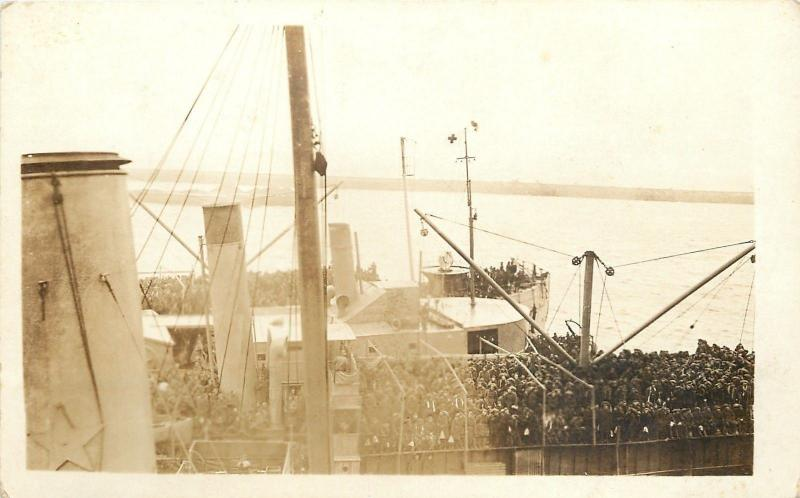 WWI~Navy~USS Manchuria~Passenger & Cargo Liner Became Troop Transport~RPPC~1918