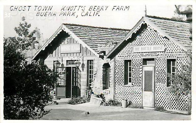 CA, Buena Park, California, Knott  Berry Place, Ghost Town, Bottle House, RPPC