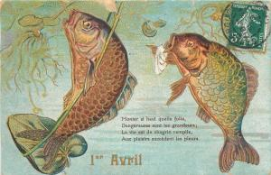 Emboss 1909 April Fools humanized fish fishes couple caricatures poissons Avril