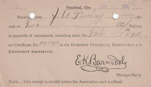 STRATFORD, Ontario, Canada, PU-1892; Payment Of Assessment