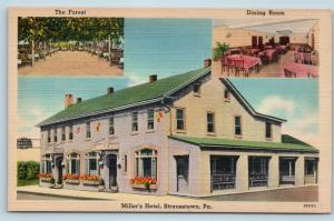 Postcard PA Strausstown Miller's Hotel The Forest Dining Room Vintage Linen E04