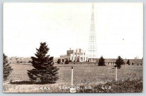 Yankton South Dakota~WNAX Broadcasting Station~Radio Tower~Art Deco~1940 RPPC