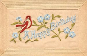 A Happy Birthday Stitching Bird and Flowers Silk Embroidered Writing on Back