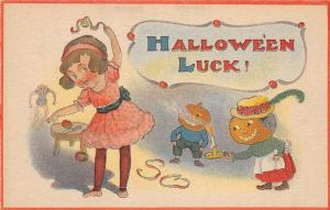 E20/ Halloween Holiday Postcard c1910 C.S. 601 Ghoul Girl Jack-O-Lantern People9