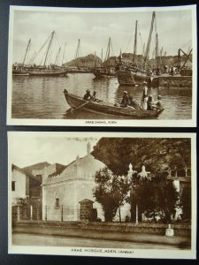 2 x Arabia Yemen ADEN Port City showing Sailing DHOWS & MOSQUE - Old RP Postcard