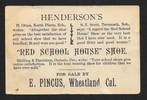 VICTORIAN TRADE CARD Red School House Shoes Teacher Who's That Toasting Apples?