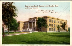 Niagara Falls High School, Billings Chapin Co. Ad Vintage Decolac Postcard
