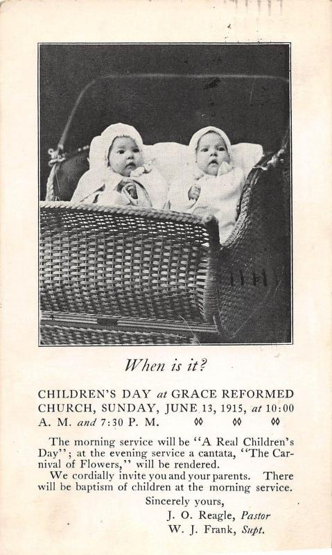 D84/ Akron Ohio Postcard 1915 Grace Reformed Church Children's Day Reagle Pastor