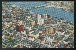 OH Toledoo Ohio Aerial View Downtown 1945 Vintage E. C. Kropp Linen Postcard