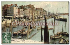 Old Postcard Le Havre Perspective From Grand Quai