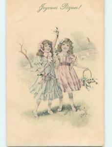 Pre-Linen easter foreign ART NOUVEAU - FRENCH GIRLS WITH FLOWER BASKETS J5657