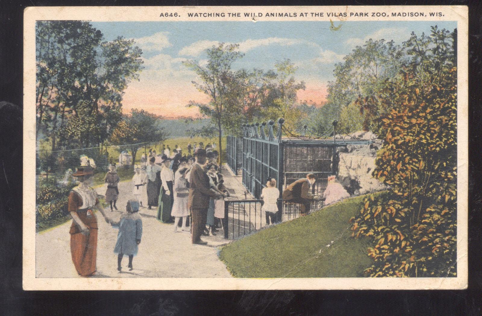 Spring In Vilas Park >> Madison Wisconsin Vilas Park Zoo Vintage Postcard Spring Valley Wis