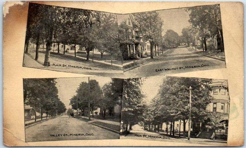 Minerva, Ohio Postcard Multi-View 4 Residential Street Scenes - 1910 OH Cancel