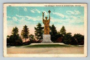 Chicago IL-Illinois, The Republic Statue in Jackson Park, Vintage c1925 Postcard