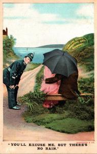 Bamforth No 1072 Policeman To Couple Under Umbrella You'll Excuse Me But...