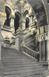 LP22  State Capitol Albany New York Vintage Postcard interior Grand Staircase
