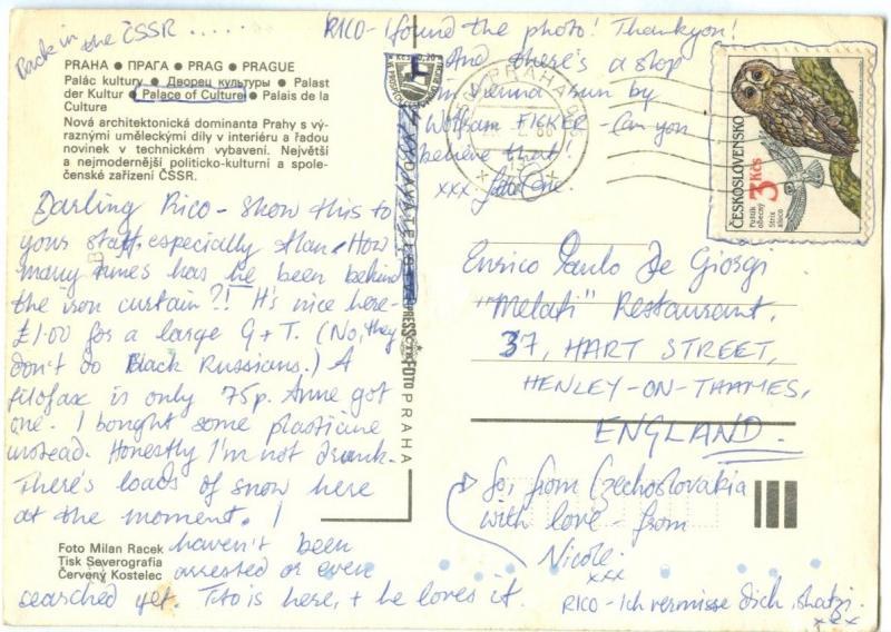 Czech Republic, Prague, Praha, Palace of Culture, 1988 used Postcard
