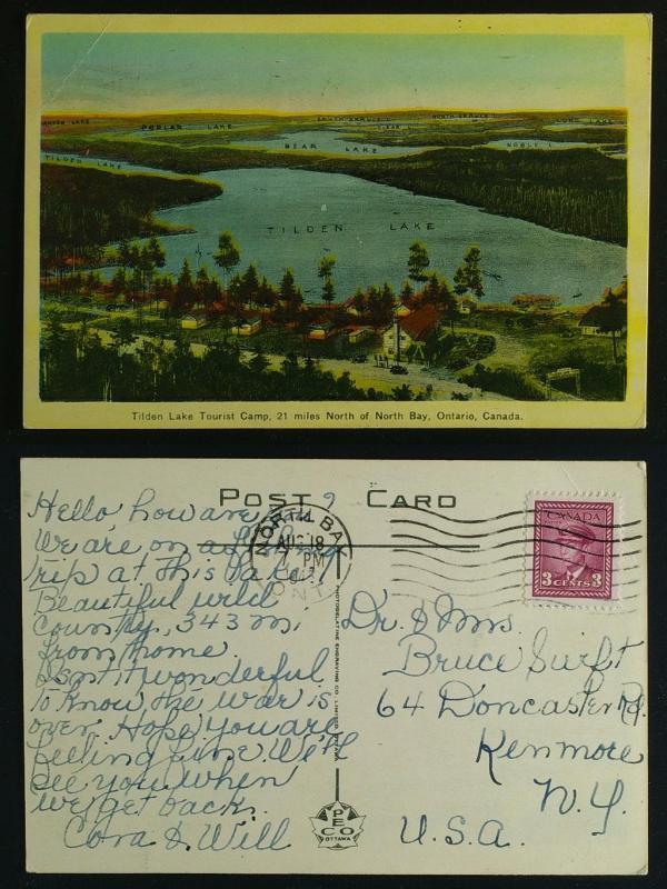 Tilden Lake Tourist camp North Bay pmk 1945