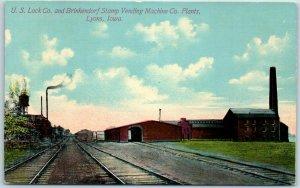 1910s Lyons, Iowa Postcard U.S. Lock Co & Brinkendorf Stamp Vending Machine Co