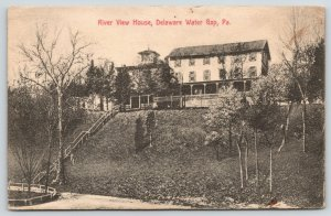 Delaware Water Gap PA~River View House Hotel~Long Steps Downhill~1913 B&W PC