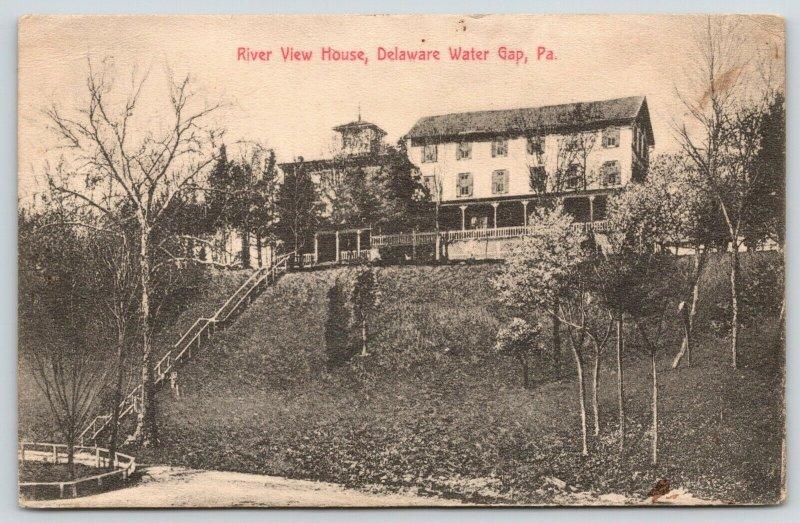 Delaware Water Gap PA~River View House Hotel~Long Steps Downhill~1913 B&W PC