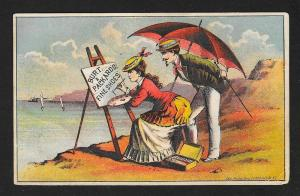VICTORIAN TRADE CARD Burt & Packard's Shoes Couple on Beach