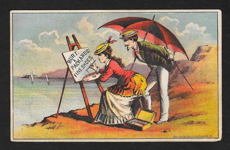 VICTORIAN TRADE CARD Burt & Packard's Shoes Couple on Beach