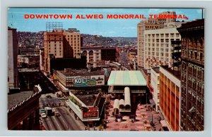 Seattle WA- Washington, Alweg Monorail Terminal, Coke Sign, Chrome Postcard