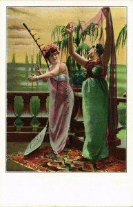 PC CPA ARABIAN TYPES AND SCENES, DANCER LADIES, Vintage Postcard (b17424)