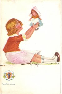 JIMMY. Girl playing with her doll Lovely vintage spanish postcard
