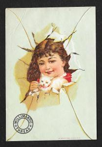 VICTORIAN TRADE CARD Willimantic Thread Girl Breaking Thru
