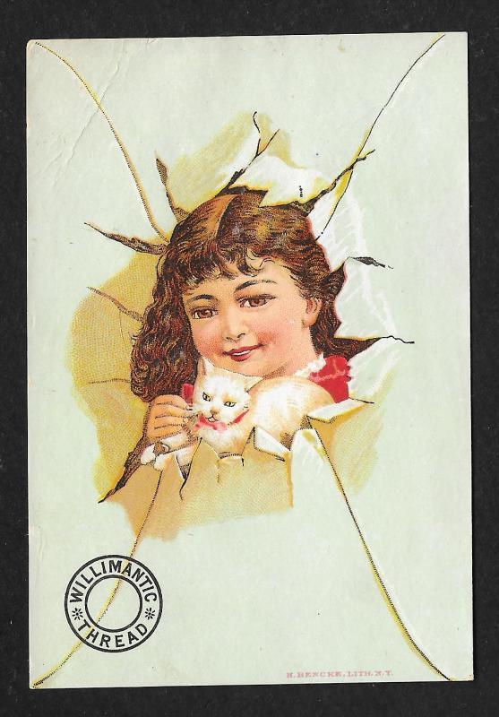 VICTORIAN TRADE CARD Willimantic Thread Girl Breaking Thru