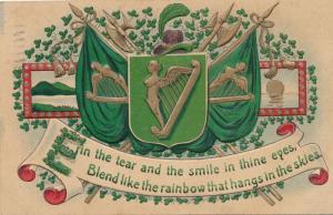 St Patricks Day Greetings Harps and other Irish Symbols - Pub ASB - pm 1909 - DB