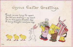 Joyous Easter Greetings Poem, Three chicks, white rabbit and people with gift...