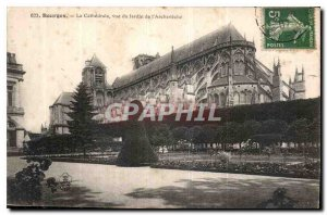 Old Postcard Bourges La Cathedrale View of the Garden Archeveche