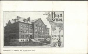 Waltham MA High School c1900 Private Mailing Card