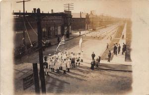 B53/ Patriotic Postcard Real Photo RPPC Sebring Ohio? Parade Flags Stores 2