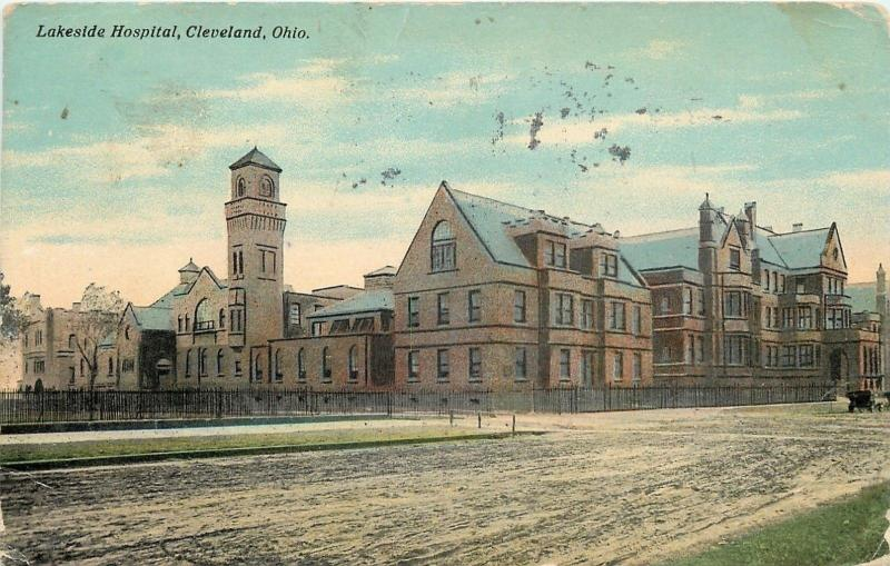Cleveland Ohio~Fenced In Lakeside Hospital~Dirt Road~1911 Postcard