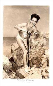 19724  half nude Woman holding Flying Fish  Catalina Island  RPC