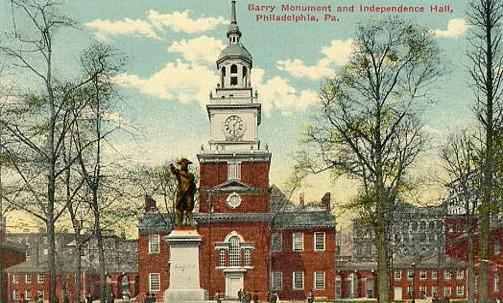 PA - Philadelphia, Barry Monument & Independence Hall