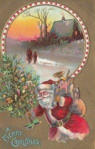 CHRISTMAS; Santa carrying Christmas tree and sack of gifts, home scene, 1900-10s