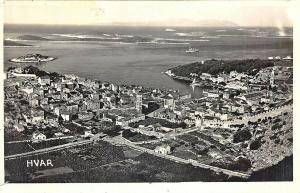 Hvar Croatia Aerial View Real Photo Postcard