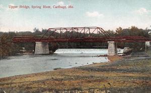 Carthage Missouri~Upper Bridge~Spring River Falls Dam~1910 Postcard