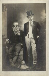 Costumes - Halloween? Hobo Tramp & Rich Man c1910 Real Photo Postcard