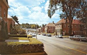 Peterborough New Hampshire~Business Area~Bank~Nice 1950s Cars~Postcard
