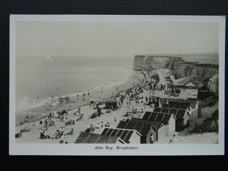 Kent BROADSTAIRS Joss Bay, Beach Huts & Cafe c1940's RP Postcard by A.H.& S.